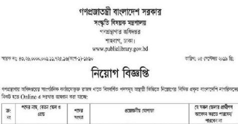 Department of Public Library Job Circular 2019 – www.publiclibrary.gov.bd